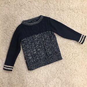 Next UK Boys Navy Blue & White Chunky Sweater Size 3-4 Years