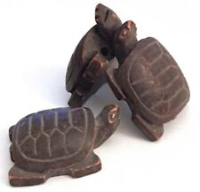 3 Large Carved Resin Brown Turtle Beads Two Holes 26mm