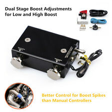 Black Dual Stage Electronic Turbo Boost Controller PSI Turbocharger w/Switch Kit