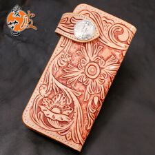 Luxury Fashion Genuine Leather hand painted long classic flower antique wallet