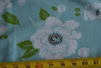 By 1/2 Yd, White Brown Olive on Blue Floral Fabric/FreeSpirit/Dolce/Whela, N3774