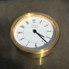 Tiffany & Co. Portfolio Brass Desk Clock Modern Lines Excellent!