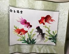 """Brand New Chinese Cross stitch fortune  4 """"Fish"""" for home decoy"""