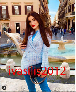 ZARA NEW WOMAN CHECK TAILORED BLAZER JACKET LIGHT BLUE XS-XL  2250/900
