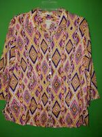 0306) CHICO'S  1 geometric southwest print linen button down blouse no iron 1
