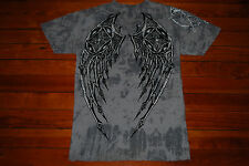 "Men's Affliction Gray ""Skeleton Wings"" Textured Graphic T-Shirt (Large)"