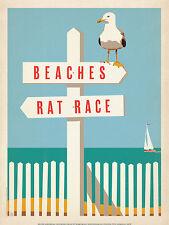 Beaches vs. Rat Race Coastal Vintage Beaches Birds Motivational Print Poster