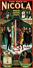 VINTAGE THE GREAT NIKOLA WORLD'S MASTER MYSTIC MAGIC MAGICIAN POSTER 24 X 49