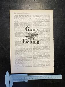 """""""Gone Fishing"""" Vintage Quote -Print Vintage Book Page Wall Art"""