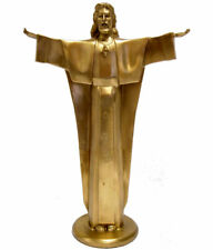 BRONZE JESUSFIGUR SAKRALE SKULPTUR JESUS CHRISTUS STATUETTE HEILAND BRONZE FIGUR