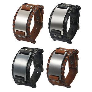 Men's Retro Punk Rock Wide Leather Bracelet Bangle Cuff Wristband Free Engraving