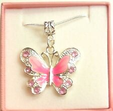 Thank You Gift for Teacher Pink Enamel Butterfly Necklace Personalised Gift Box