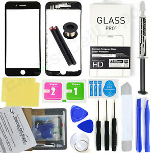 For Black iPhone 8 Front Glass Screen Replacement Kit LOCA glue wire pry tool
