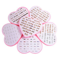 36Pairs Fashion Women Girls Crystal Diamante Flower Stud Earrings Jewelry Set JO