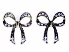 vintage style bronze cut out bow stud earrings with crystal
