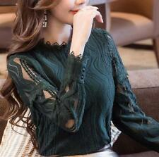 New Korean Elegant Womens Ladies Lace Chiffon Shirt Long Sleeve Slim Blouse Tops