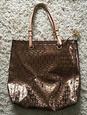 Michael Kors Monogram Copper Metallic Large Tote Travel Bag Shopper