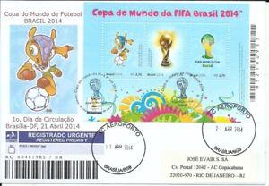 BRAZIL 2014 Soccer FOOTBALL WORLD CHAMPIONSHIP S.Sheet on JE FDC