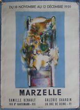 1959 Paris - Marzelle vintage art exhibition poster - affiche exposition d'art