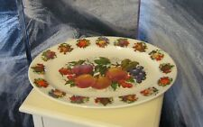 Oval English Fine China Fruit Print Large Charger Serving Plate