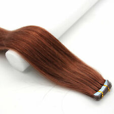 """22""""60g Seamless Tape In Skin Weft 9A Remy Indian Human Hair Extension Auburn"""