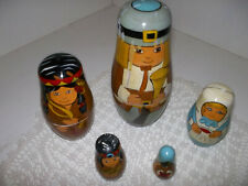 Vintage 5 pc Pilgram Thanksgiving Nesting Dolls