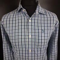 Penguin Mens Shirt LARGE Long Sleeve Blue Slim Fit Check Cotton