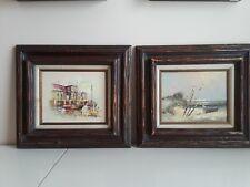Pair Vintage Oil Paintings Signed Engel & P.G Teale Original Canvas Framed