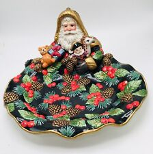 "Fitz and Floyd ""Holiday Pine"" Santa Cookie Tray / Platter in Box"