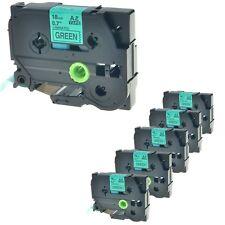 """6PK TZ 741 TZe 741 TZ741 Black on Green Label Tape For Brother PT-2730 18mm 3/8"""""""