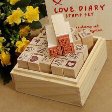 25pcs/set scatola in legno modello DIARIO delizioso timbro in gomma Carino fai da te la scrittura Scrapboo