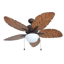 "52"" Bronze Downrod Mount Indoor Outdoor Residential Ceiling Fan Palm Blades,New!"