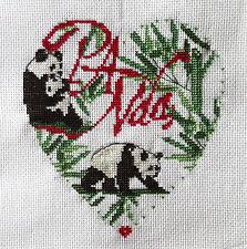 broderie point de croix  coeur PANDA I Vautier