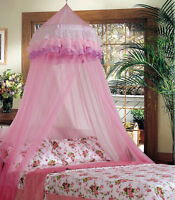 Lacey Bed Crib Mesh Girl Princess Round Dome Pink Canopy Bedding Mosquito Net