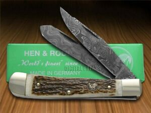 Hen & Rooster Stag Damascus Trapper Pocket Knives 312DAM/DS Knife