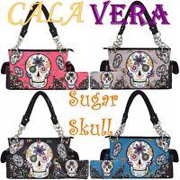 Sugar Skull Day of the Dead Purse Punk Art Handbag Women Shoulder Bag Wallet Set