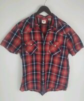 Levis Western Flannel Pearl Snap Shirt Mens Red Plaid Cotton Standard Fit XL