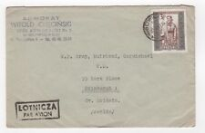 1951 POLAND Air Mail Cover GLIWICACH to EDINBURGH Scotland