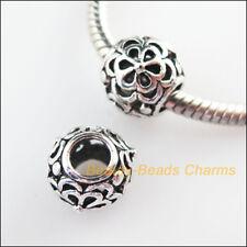 3Pcs Tibetan Silver Flower Spacer Beads fit European Charm Bracelets 10.5mm