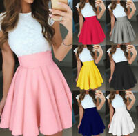 Loose Flared High Waist Fashion A-line Lady Young Solid Plain Women Short Skirt