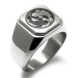 Stainless Steel Koi Fish Yin Yang Square Mens Square Biker Style Signet Ring