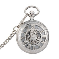 Elegant Silver With Chain Gift Mechanical Pocket Watch Pane Design Literature