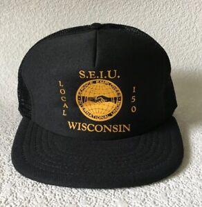 Vintage Trucker Hat SEIU Service Employees International Union Cap Local 150 Wi.