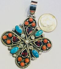 Sleeping Beauty Turquoise Pendant Sterling Silver Red Coral Garnet Multi Stone