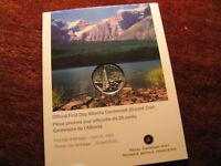 Canada 2005 First Day Cover Alberta 25 Cent Coin In Rcm Pack.