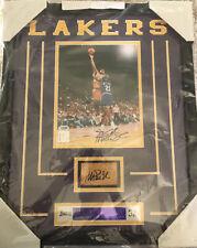 Magic Johnson 2x Autograph Framed 8x10 Photo & Floor PSA Beckett COA Lakers NBA
