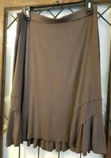 Three Dots Brown Rayon A Line Skirt Sz L