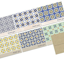 72 Note Cards - Spanish Talavera Tile Thank You - 6 Designs - Kraft Envs