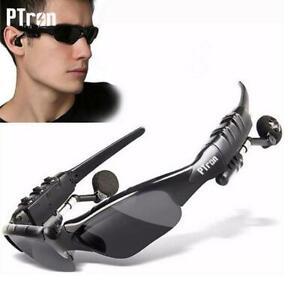 PTron VIKI Occhiali da Sole con Cuffie Incorporate Bluetooth Smart Glass Nero