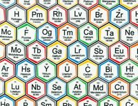 FAT QUARTER FABRIC  PERIODIC TABLE  CHEMICAL ELEMENTS  SCIENCE HEXAGON COTTON FQ